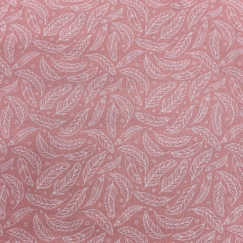 Dusky Pink & White Feather - Per Metre