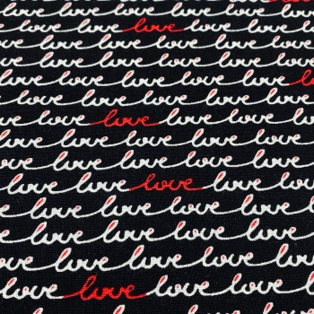 100% Cotton Black with Red 'Love' Print - Per Metre