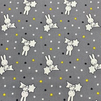 Cotton Grey 'Miffy' - Per Metre
