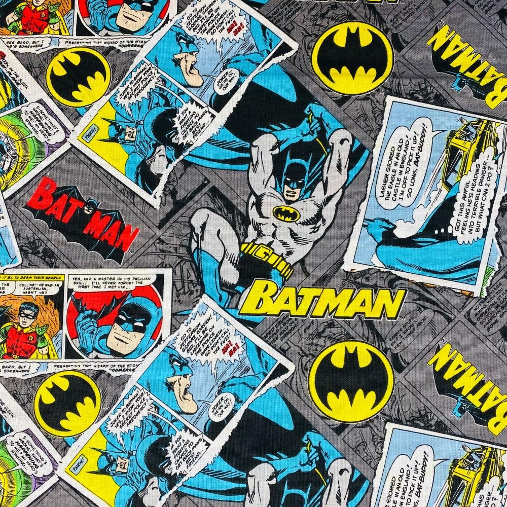 Batman Comic Grey -  Per half Metre