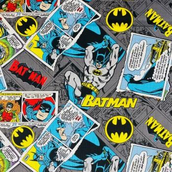 Batman Comic Grey - Price Per 1/2 Metre