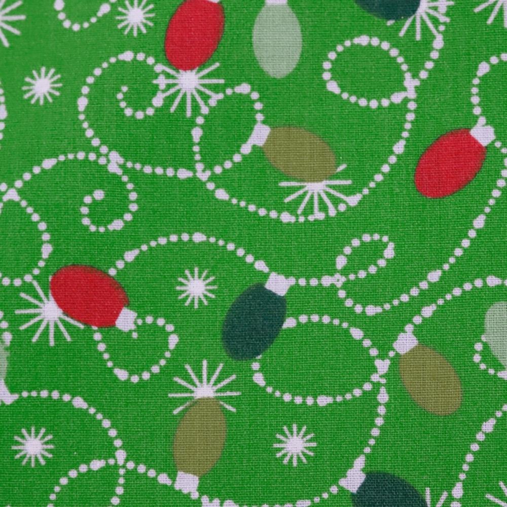 65% Poly/35% Cotton Christmas Lights on Green - per metre