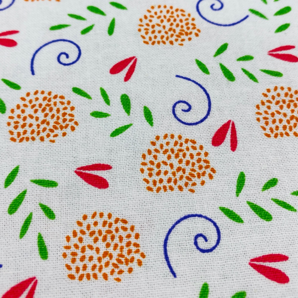 White Patterned Floral - Per Metre