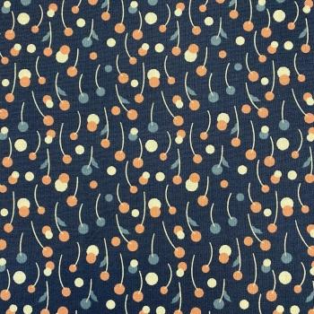 100% Cotton Navy with Multi Colour Berries - Per Metre