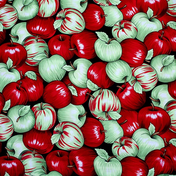 Novelty 100% Cotton Fabric - Apples - per half metre