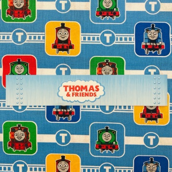 Thomas The Tank Engine (Blue Track) - Sold By Half Metre