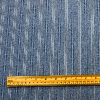 Polester Linen Look - Denim Blue Stripe - per metre