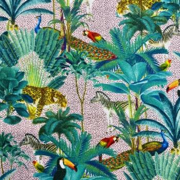 Tropical  Digital Print 100% Cotton - Pink - per half metre