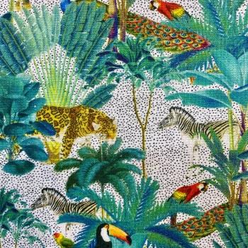 Tropical Digital Print 100% Cotton - White - per half metre