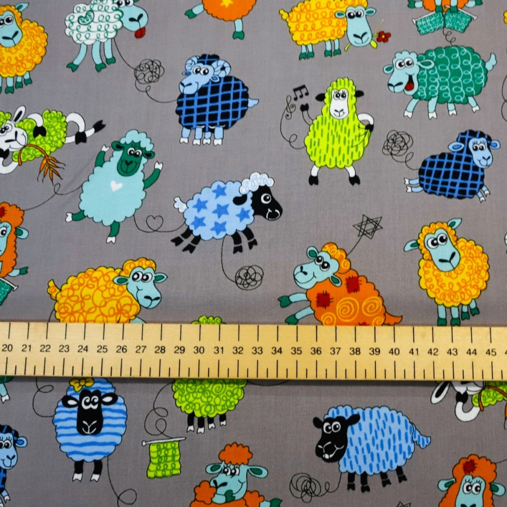 Cartoon Sheep on Grey - per half metre