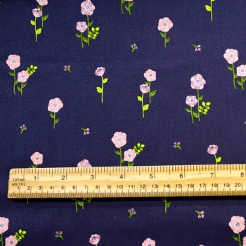 100% cotton - Navy with Pink Flower - per half metre