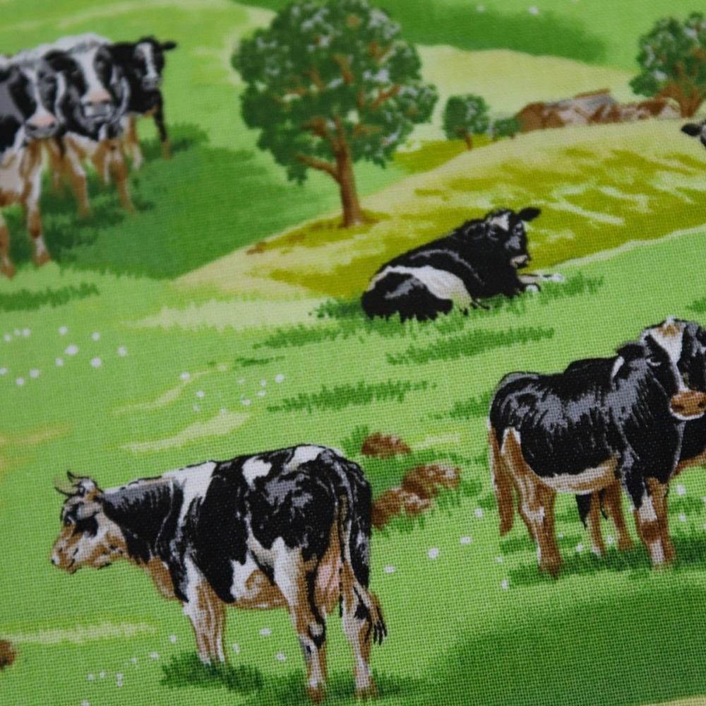 100% Cotton -Cows in Field - per half metre