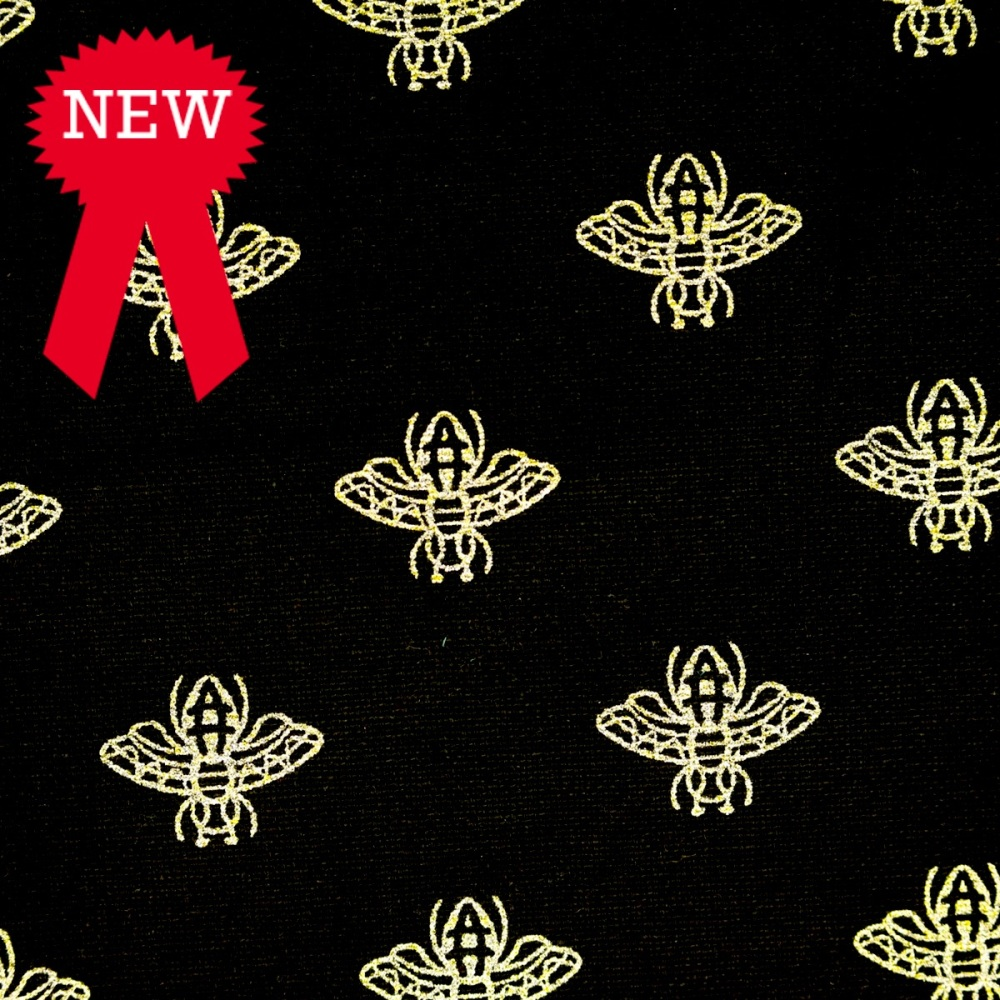 80% cotton/20% polyester Craft Cotton Black with Gold Bees - per half metre