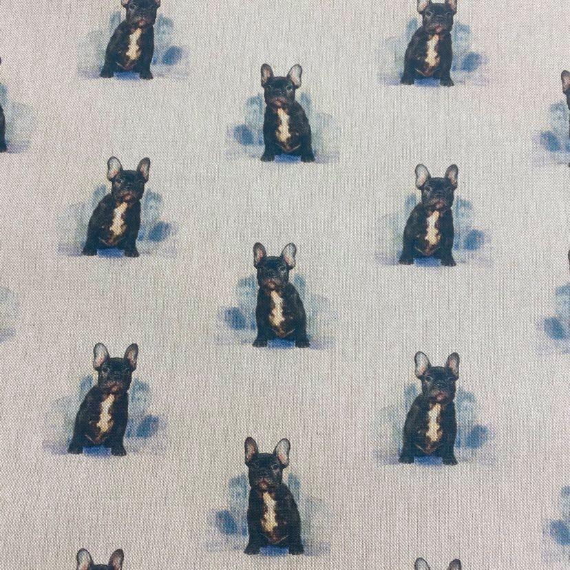 80% cotton/20% polyester French Bulldog  - per half metre