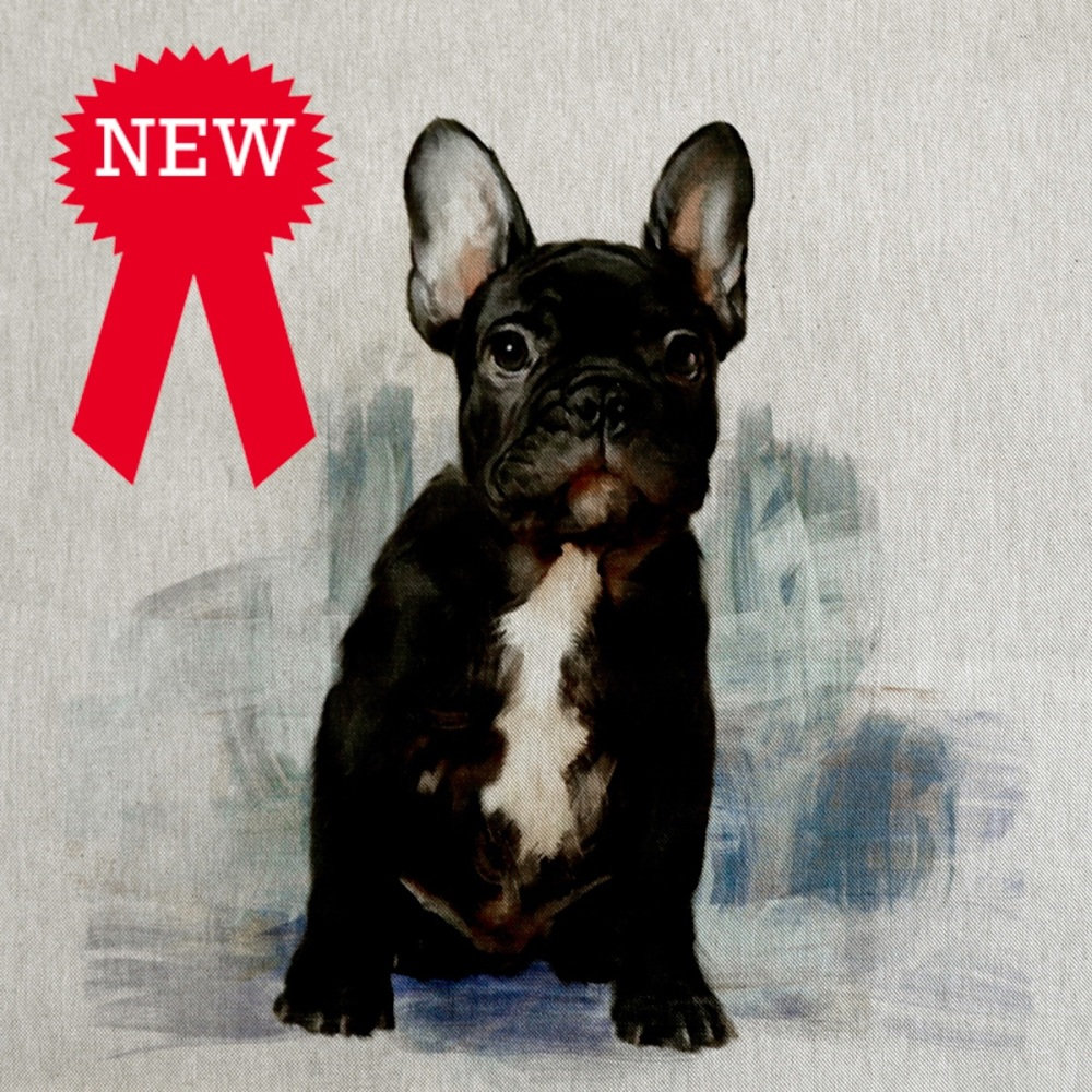 80%cotton/20% polyester French Bulldog Cushion Panel
