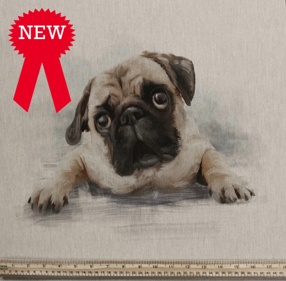 80%cotton/20% polyester Pug Cushion Panel