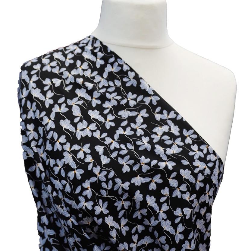 100% Viscose Black Print - per half metre