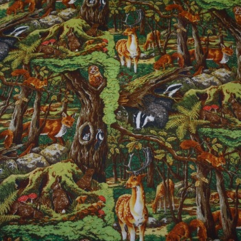 100% Cotton Animal Forest - 2.6 metre piece.