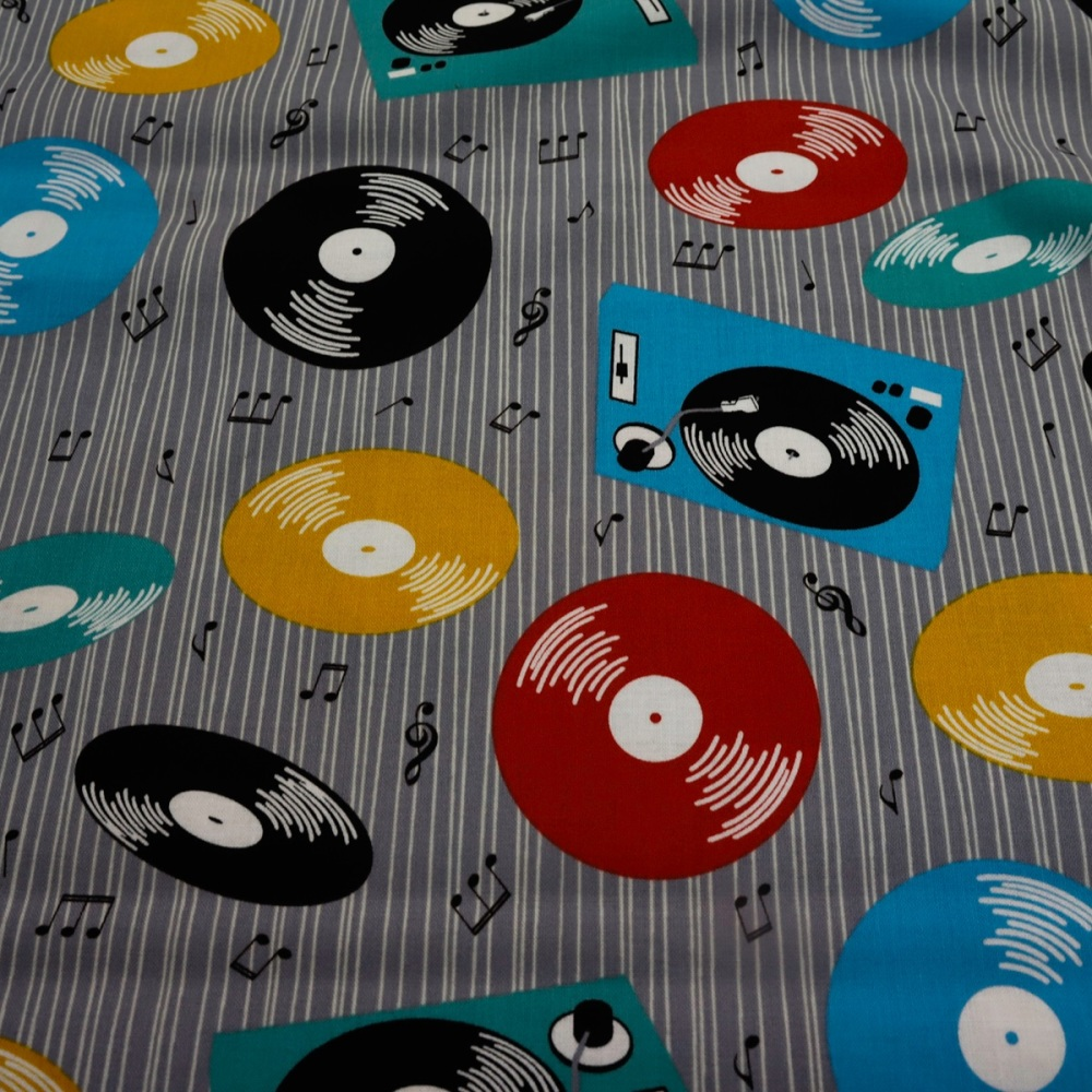 100% Cotton Retro Records - 1 metre piece