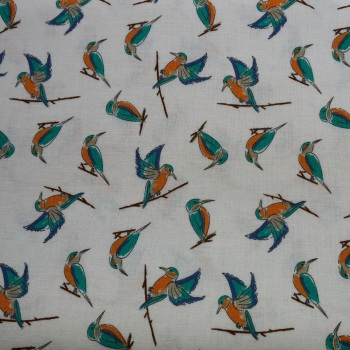 100% Cotton Lily Pad Kingfisher by Debbie Shore - 1.15 meter piece