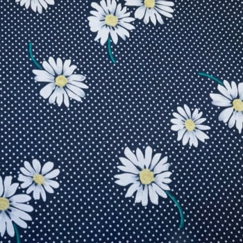 100% Cotton Navy Daisy Print - 1.12 meters
