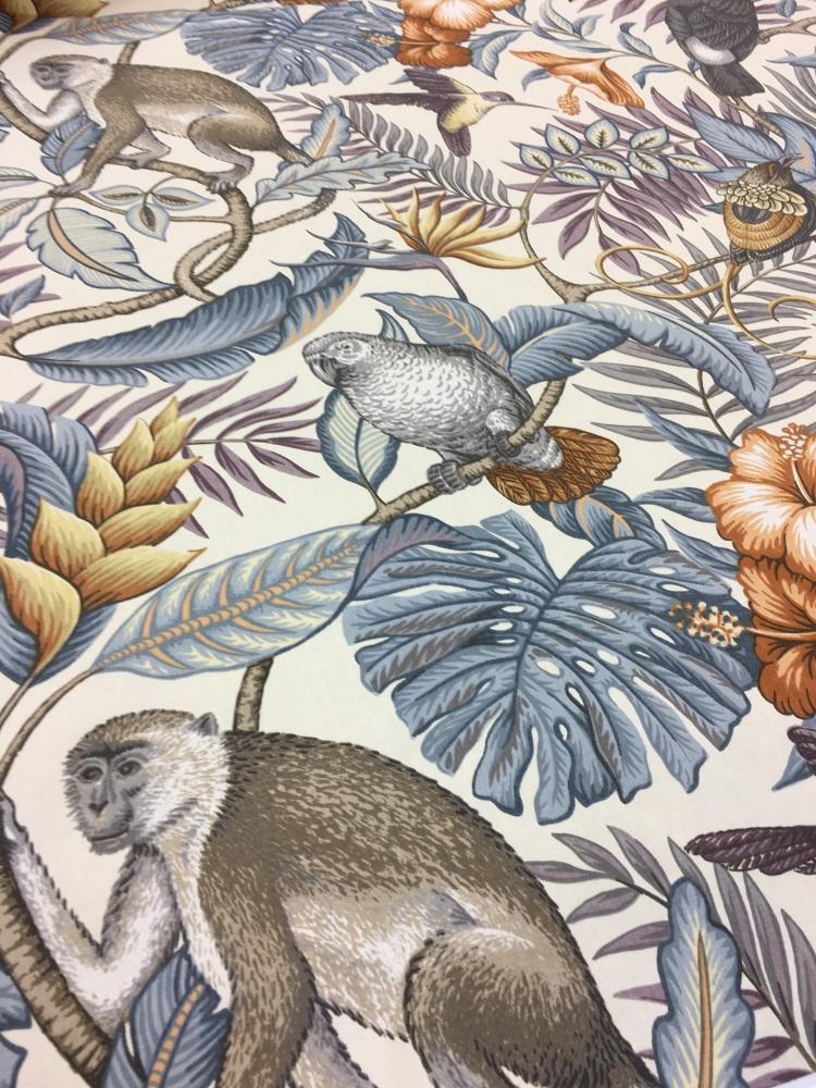 100% Cotton Monkey/Bird fabric - 98cm piece