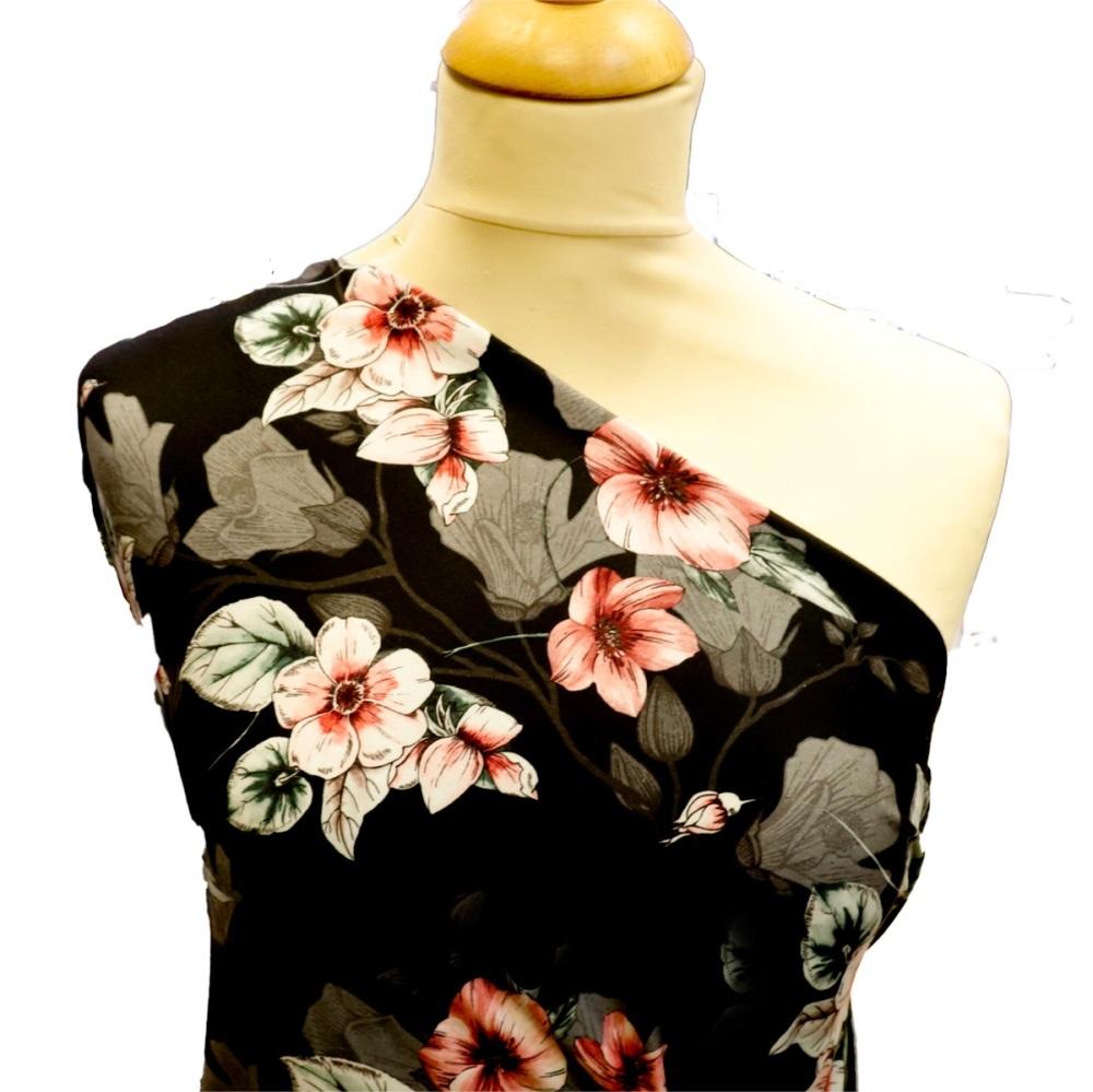Designer Floral (Black) - Per Half Metre