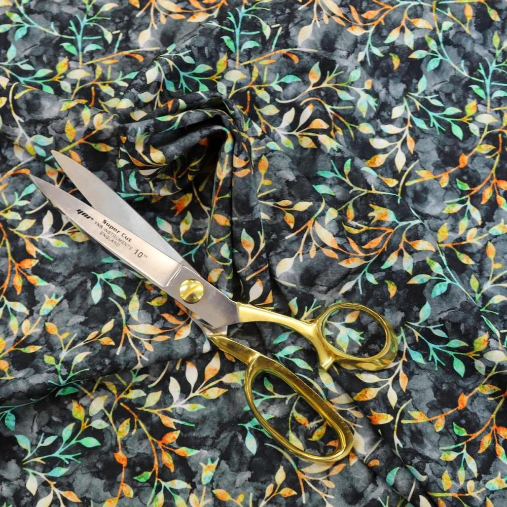 New 100% Cotton - Autumn Leaves - Black - per half metre