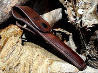 Leather-FIre-leather case for storm pipe with press stud closure