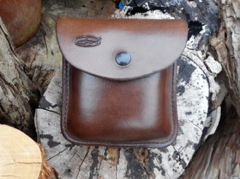 END OF LINE - Leather 2oz Portrait 'Possibles' Pouch with Military Spec Press Stud - Brown