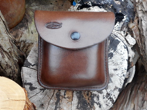 Ready To Go - 2oz 'Possibles' Brown Leather Pouch (Portrait) Press Stud Fas