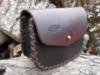 BESPOKE - Leather Gusseted 'Possibles' Pouch - Hand Cross Stitched (45-5090)