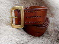 Leather- Belt-hand stitched- 306- ligh tbrown-rolled up