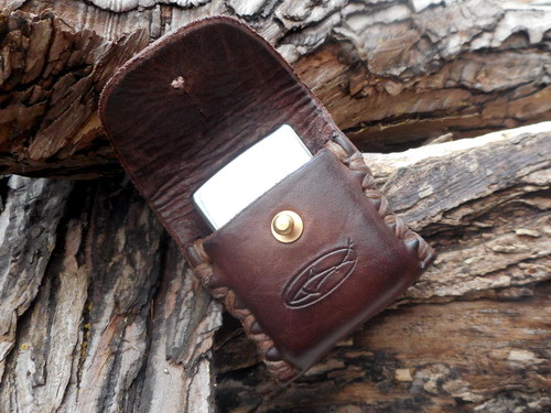 leather-zippo lighter case-choc brown-open