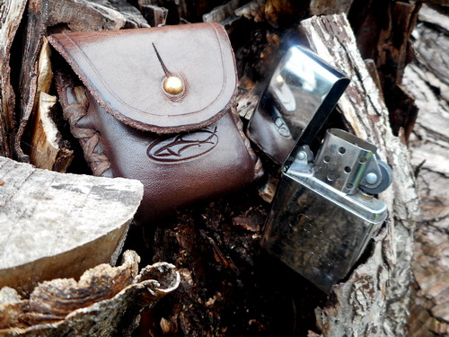 leather-zippo lighter case-choc brown-with lighter