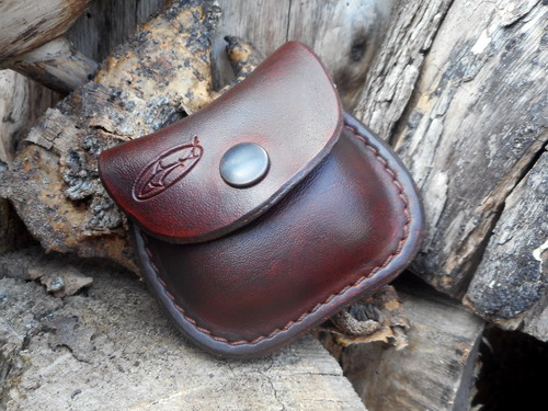Leather-mini pocket pouch with belt loop-press stud closed