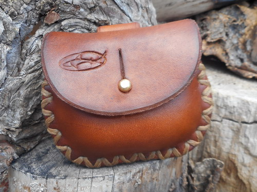 Leather-mini pocket Tinder Pouch-front-light brown-hand crossed stitched wi