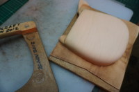 13) By now the front of the pouch is dry and can be removed form the wooden