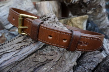 leather-belt-handmade russet western belt top stitch detail by beaver bushc