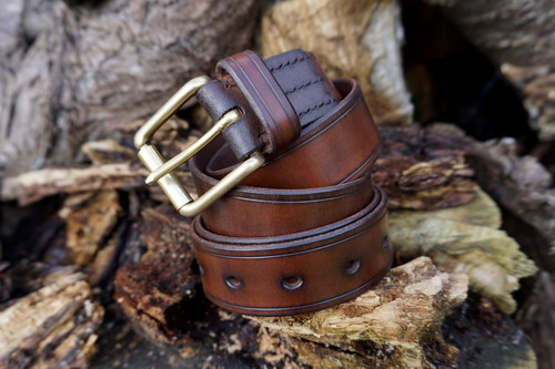 HAND STITCHED - 911 Hand Stitched 'Professional' Leather Belt - up to 56-in