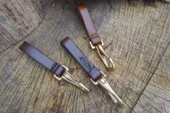 BESPOKE - Utility Belt Loop with with Solid Brass Bridal Hook in 16mm or 25mm Widths - SADDLE STITCHED (45-7020)