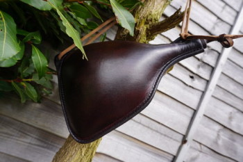 Leather-bottle handmade by shark designs for beaver bushcraft in conker sqa