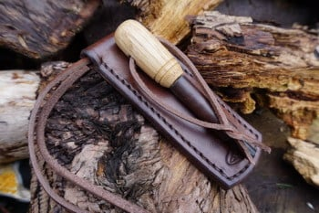 Leather fire hand stitched leather ferro rod holder for beaver bushcraft by