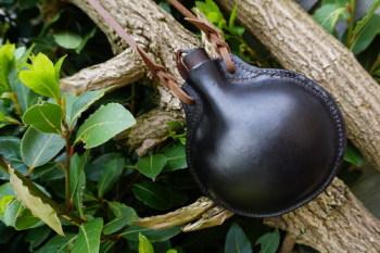 Leather handmade round Tudor leather bottle in black made for beaver bushcr
