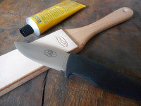 Sharpening- Single Sided Hand Strop-with knife
