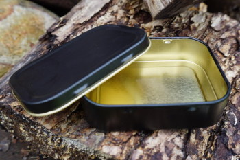 Containers-1oz tobacco tins for beaver bushcraft in matt black
