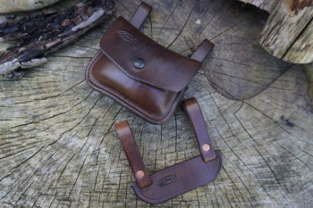 Leather-scandi style pouch adapter with pouch in brown made for beaver bush
