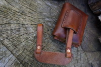 Leather-scandi style pouch adapter with pouch in saddle tan 2nd example exa