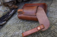 Leather-scandi style pouch adapter with pouch in saddle tan 3 rd example e
