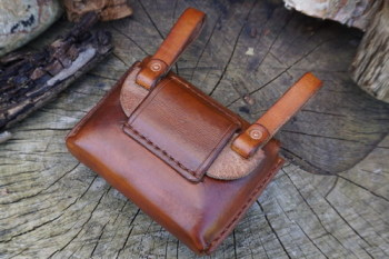 Leather-scandi style pouch adapter with pouch in saddle tan 4th example
